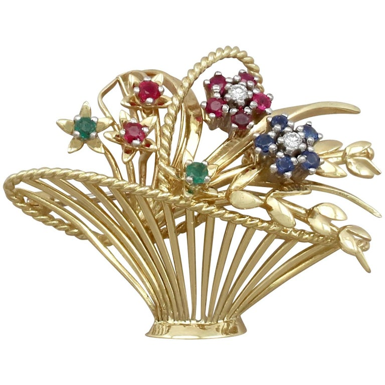 1960s Vintage Diamond Sapphire Ruby Emerald and Yellow Gold Spray Brooch