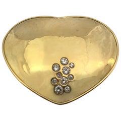 Yellow Gold Heart White Diamonds Brooch
