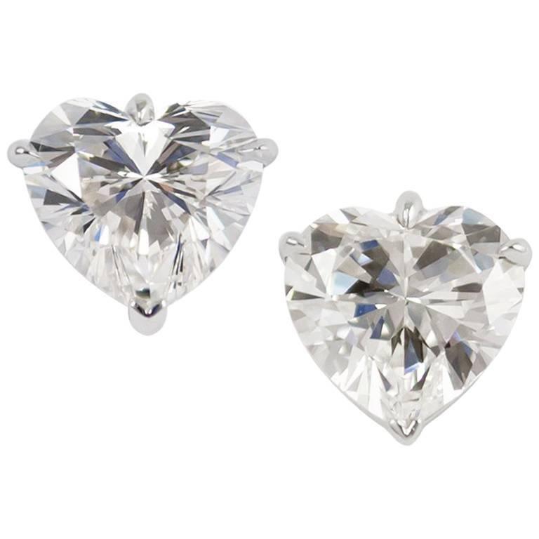 Gia Certified 6 28 Carats Heart Shape Diamond Stud Earrings For