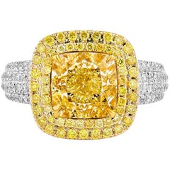 GIA Certified 4.55 Carat Fancy Yellow Ring