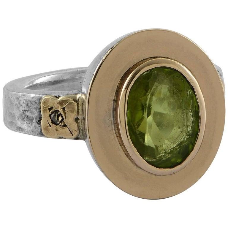 Emma Chapman Peridot Diamond 18 Karat Gold Silver Ring