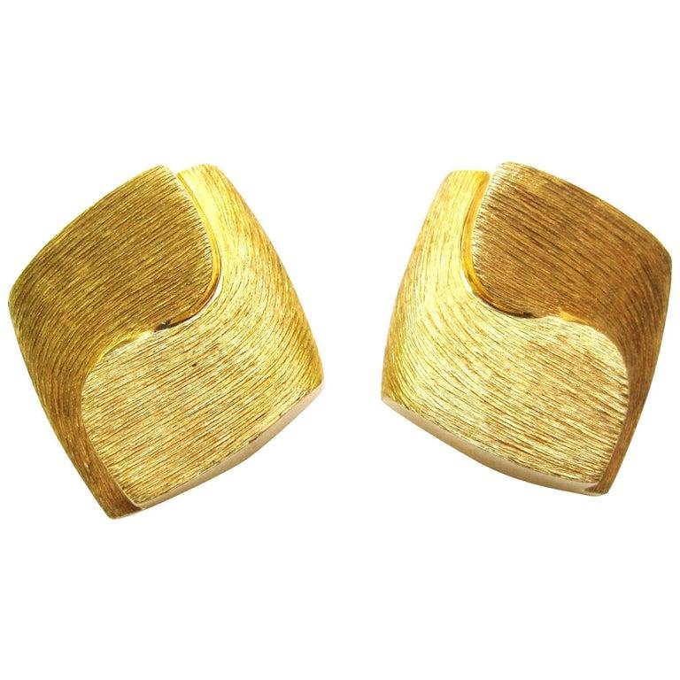 Henry Dunay Brushed 18 Karat Gold Earrings
