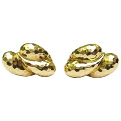 Henry Dunay 18 Karat Gold Faceted Clip on Earrings