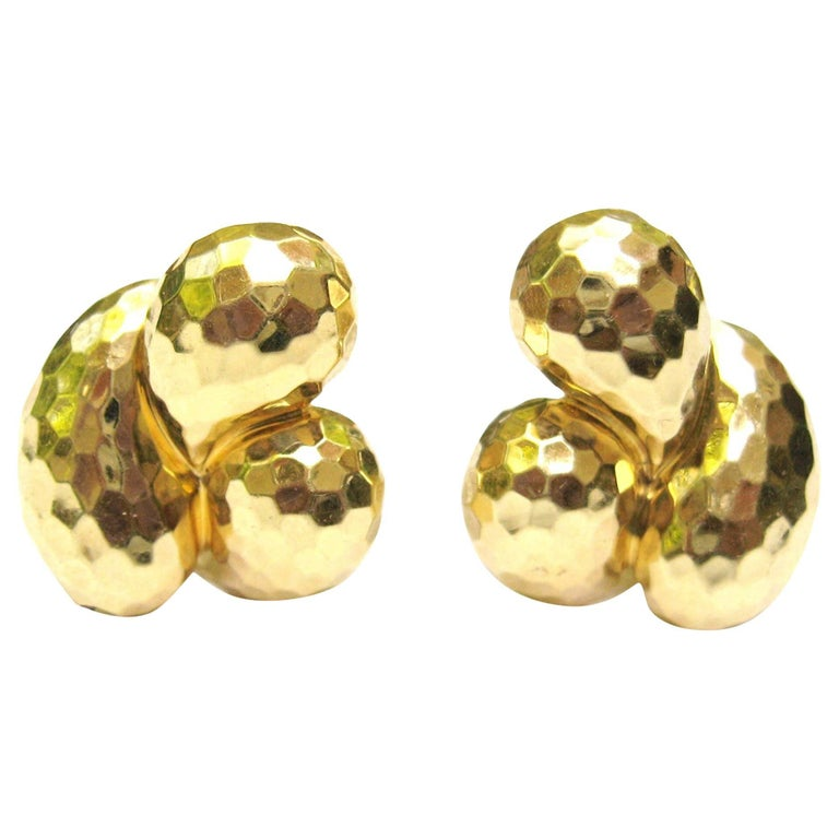 Hammered Faceted Henry Dunay 18 Karat Gold Earrings
