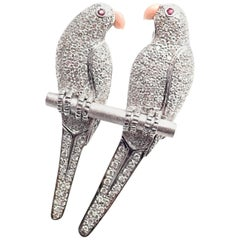 Estate Diamond Ruby Coral Two Love Birds Parrot White Gold Pendant Pin Brooch