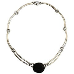 N.E. From Sterling Silver Necklace with Black Onyx Pendant Piece