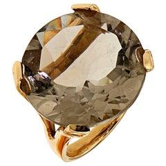 Grey Topaz Rock Crystal 18 Karat Rose Gold Cocktail Ring Modern