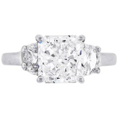 GIA Certified 3.05 Carat Radiant Cut Diamond Three-Stone Engagement Ring