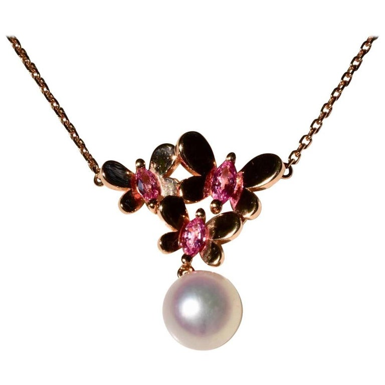 Mikimoto Pink Sapphire and Pearl Necklace