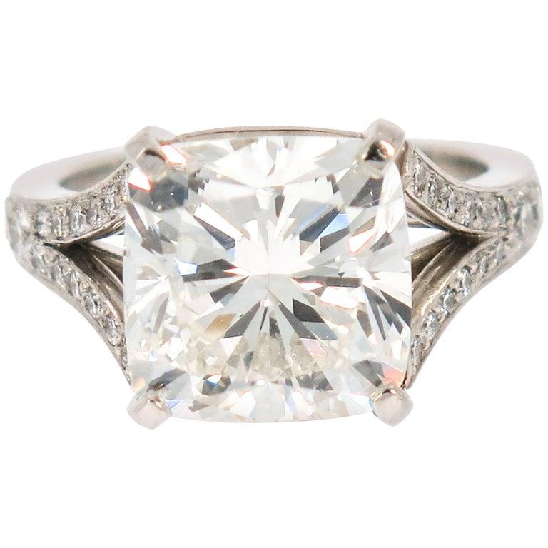 GIA Certified 7.01 Carat Cushion Cut Diamond Engagement Ring