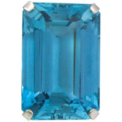 Stunning 45.50 Carat Rare Santa Maria Blue Color Aquamarine Retro Platinum Ring