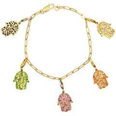 Sapphire and Black Diamond Gold Hamsa Charm Bracelet
