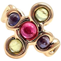 Chanel Pink and Green Tourmaline Yellow Gold Ring