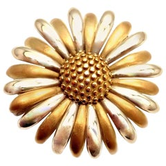 Asprey & Garrard London Sunflower Flower Yellow and White Gold Pin Brooch