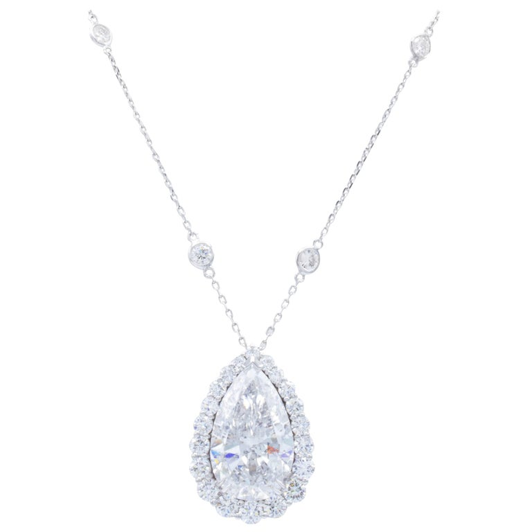 David Rosenberg 12 Carat Pear Shape D/I1 GIA Certified Diamond Pendant Necklace