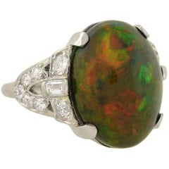 Art Deco GIA Certified Black Opal Diamond Ring