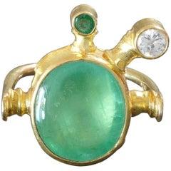 1990s Albert Sous Unique Postmodernist Emerald Diamond Gold Ring