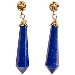 Lapis Lazuli and 22 Karat Gold Earrings
