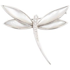 Van Cleef & Arpels Dragonfly Diamond Brooch, 18k White Gold and Mother-of-Pearl