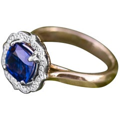1.44 Carat Blue Sapphire and Diamond Ring in 14 Karat White and Yellow Gold