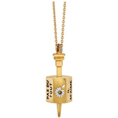 Enamel Gold Spinning Top Pendant Charm and Chain