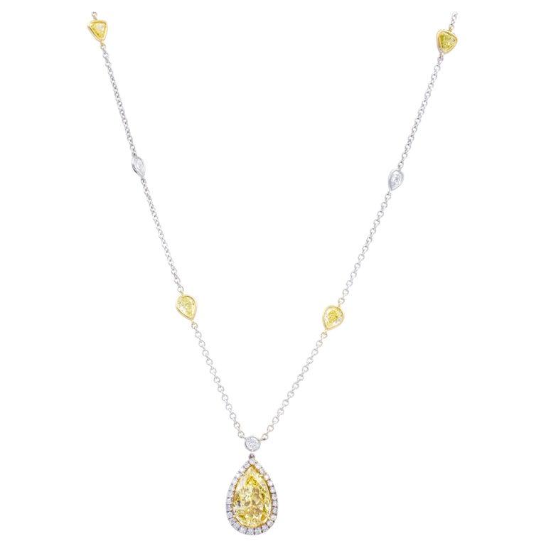 David Rosenberg 2.82 Carat Fancy Yellow Halo Pear Shape Diamond Pendant Necklace