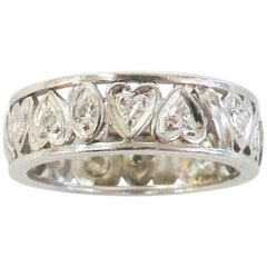 1930s Art Deco Carved Diamond Heart Eternity Wedding Band / Platinum