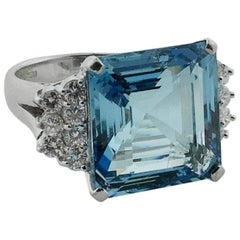 """Aquamarine and Diamond Ring in 18 Karat """"Fit for Royalty"""", circa 1950s"""