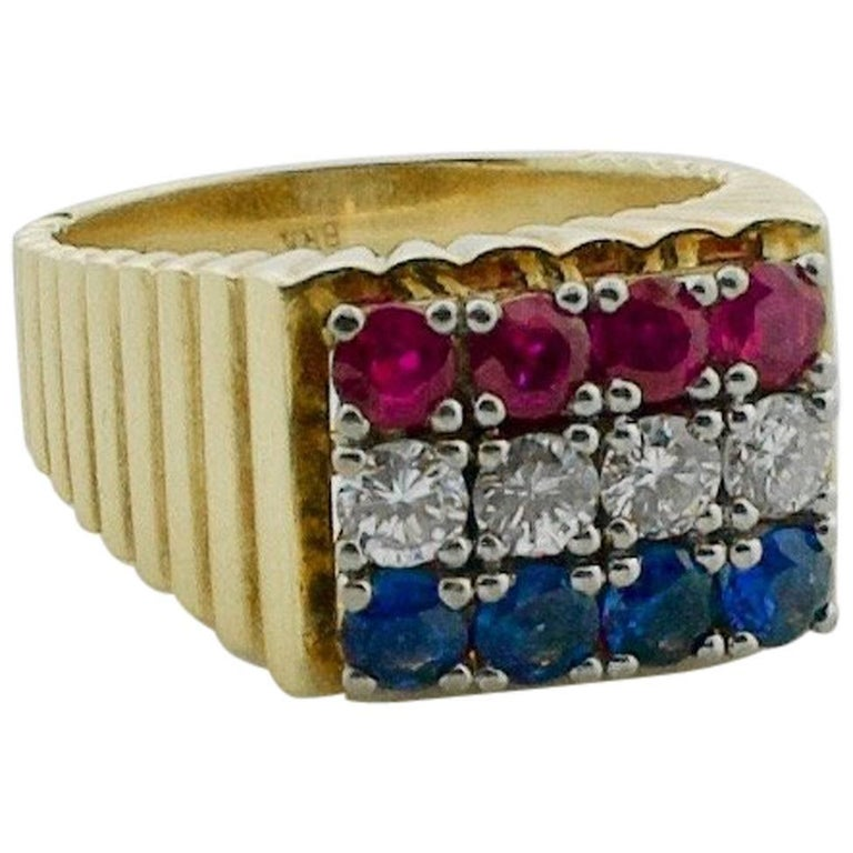 Red-White and Blue Diamond Sapphire and Ruby Ring in 18 Karat For Sale