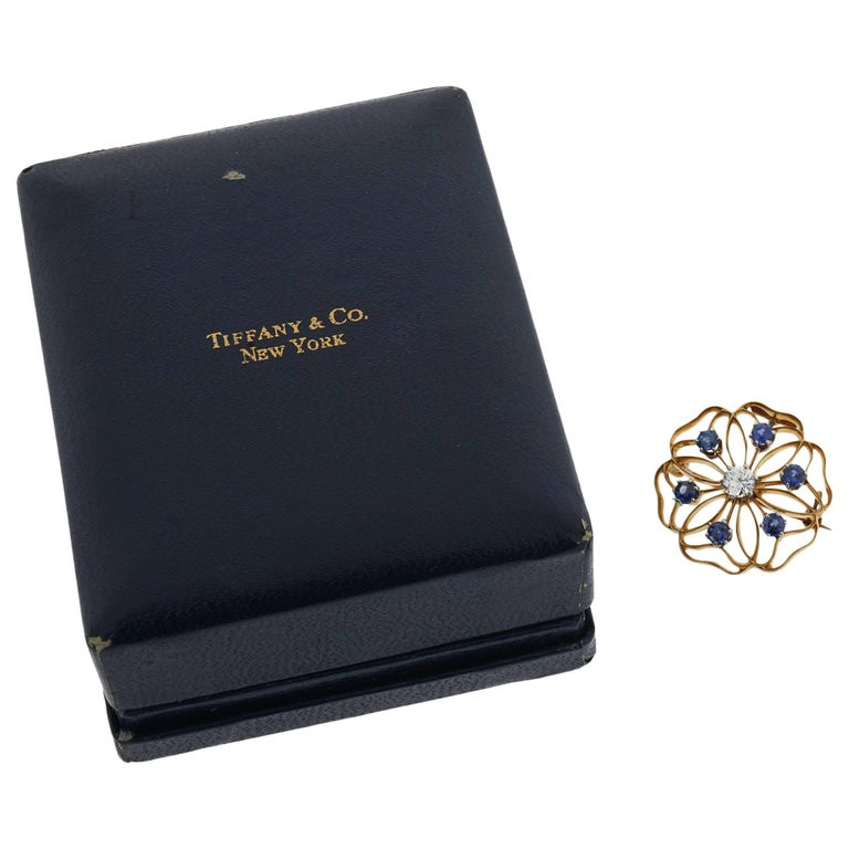 Tiffany & Co. 14 Karat Antique Yellow Gold Sapphire and Diamond Pin