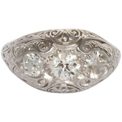 1.10 Carat Total Weight Platinum Diamond Engagement Ring
