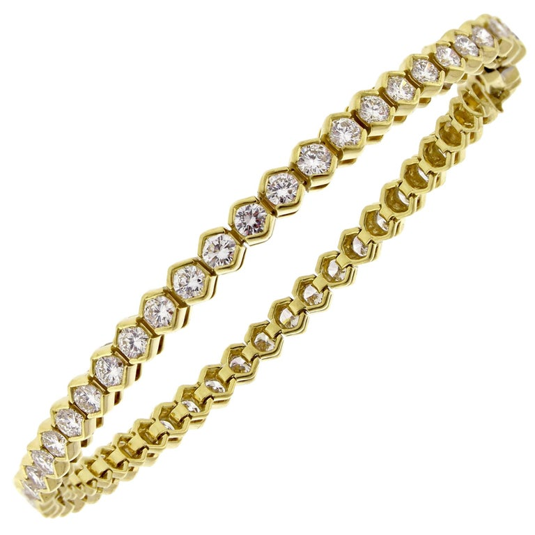 Tiffany Co Diamond 18 Karat Gold Tennis Bracelet For