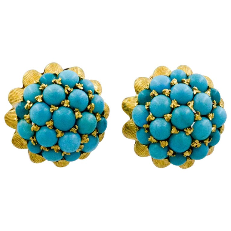 Etruscan Revival 18 Karat Yellow Gold Turquoise Earrings For