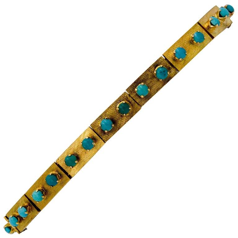 14 Karat Yellow Gold Turquoise Etruscan Bracelet