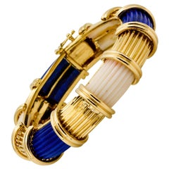 Modern 18 Karat Yellow Gold Carved Lapis White Coral Bangle Bracelet