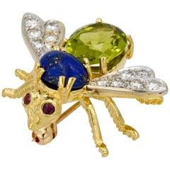 Peridot and Lapis Herbert Rosenthal 14 Karat Yellow Gold Bee Pin