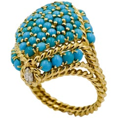 18 Karat Gold Turquoise Ring with Diamond Accents