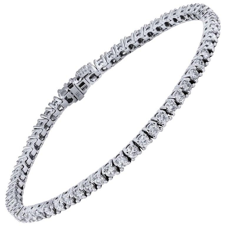 H & H 4.06 Carat Diamond Tennis Bracelet