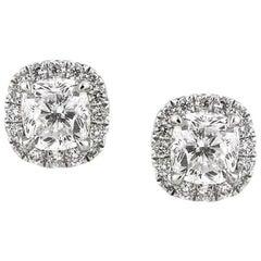 Mark Broumand 1.55 Carat Cushion Cut Diamond Stud Earrings