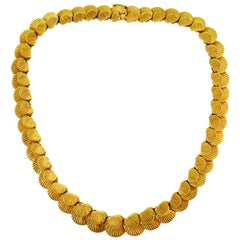 Yellow Gold Seashell Necklace, French, 1950s