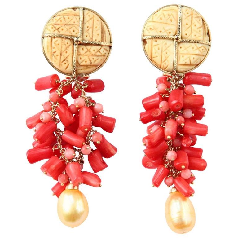 Coral Gold Dangle Earrings