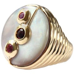 Mother-of-Pearl Gold Tourmaline Ring