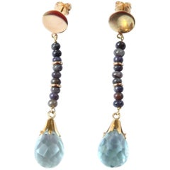 Long Aquamarine Earring Drop Gold
