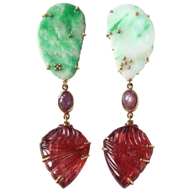 Antiques Jade Carved Tourmaline Star Ruby Gold Dangle Earrings