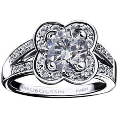 Mauboussin Chance of Love 1 Carat Round Diamond White Gold Ring