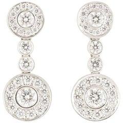 Tiffany & Co. Platinum Diamond Circlet Earrings 1.18 carats