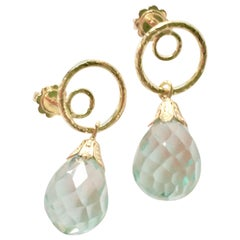 Aquamarine Gold Earring