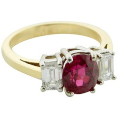 2.31 Carat Burmese No Heat Ruby and Diamond Solitaire Ring in 18 Karat