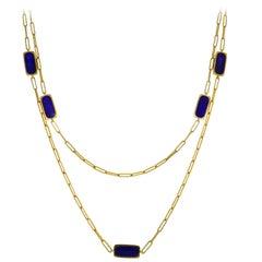 Dinh Van Lapis Lazuli Yellow Gold Chain Necklace, 1971