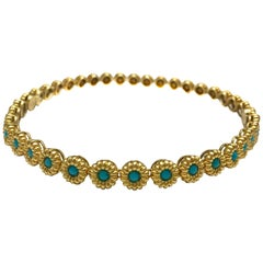 18 Karat Yellow Gold Turquoise Bracelets or Choker Necklace